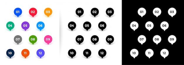 Punktory w stylu wskaźnika na mapie mają numery od jednego do dwunastu