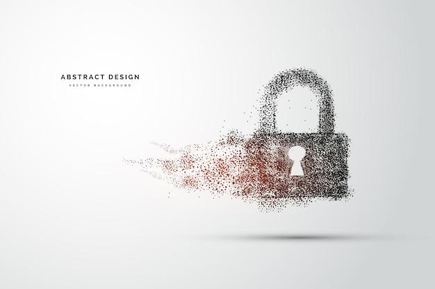 Punkty są połączone i tworzą znak blokady koncepcji cyberbezpieczeństwa. koncepcja technologii i sieci. internet cyfrowy. streszczenie technologia tła.ilustracja wektorowa