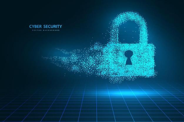 Punkty Są Połączone I Tworzą Znak Blokady Koncepcji Cyberbezpieczeństwa. Koncepcja Technologii I Sieci. Internet Cyfrowy. Streszczenie Technologia Tła.ilustracja Wektorowa Premium Wektorów