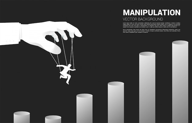 Puppet master controlling sylwetka biznesmena do skoku na wyższy wykres. pojęcie manipulacji i mikrozarządzania