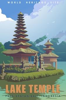 Pura ulun danu bratan lub świątynia bali lake poświęcona bogini rzeki dewi danu. plakat podróży w stylu vintage.