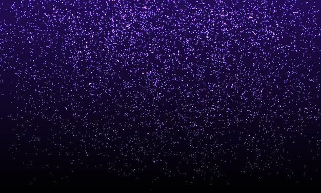 Purple confetti. złote cząsteczki brokatu.