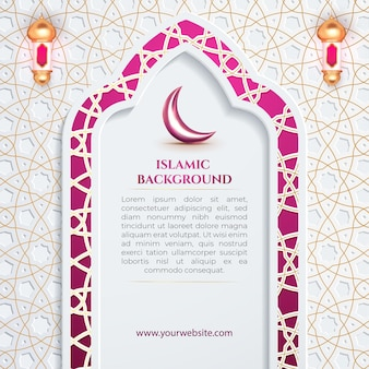 Purpurowa brama islamski patern tło dla szablonu ulotki w mediach społecznościowych