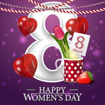 Purpurowa pocztówka z pozdrowieniami na dzień kobiet