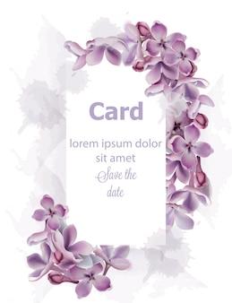 Purpurowe kwiaty bzu karta zaproszenie akwarela