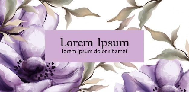 Purpurowe kwiaty tło akwarela