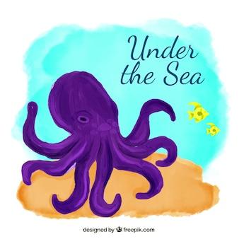 Purpurowe ośmiornice pod tle morza akwareli