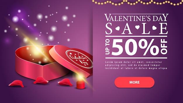 Purpurowe poziomy rabat valentine's day