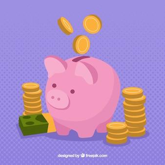 Purpurowe tło banku piggy bank z monetami