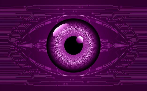 Purpurowego Oka Cyber Obwodu Przyszłościowy Technologii Pojęcia Tło Premium Wektorów