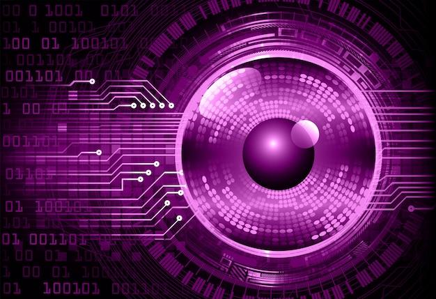 Purpurowego oka cyber obwodu przyszłościowy technologii pojęcia tło