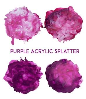 Purpurowy akryl splatter kolekcji