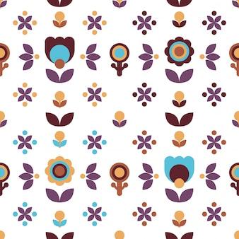 Purpurowy brązowy prosty kwiatowy wzór ludowy