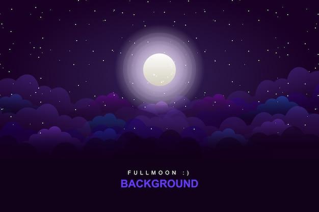 Purpurowy nieba tło z księżyc w pełni i gwiaździstej nocy tłem