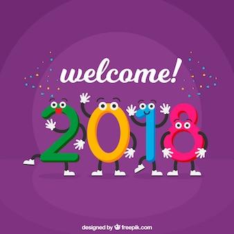 Purpurowy nowego roku tło z kolorowymi cyframi
