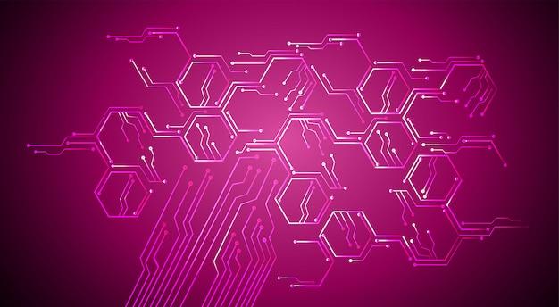 Purpurowy obwód cyber przyszłości technologia tło