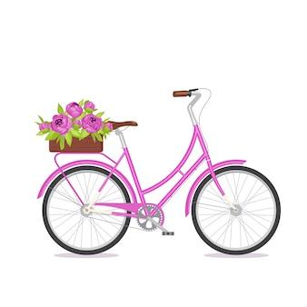 Purpurowy retro bicykl z bukietem w kwiecistym pudełku na bagażniku.