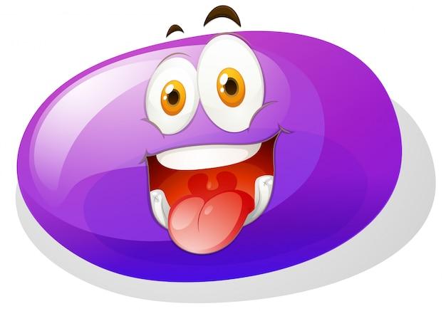 Purpurowy śluz z śmieszną twarzą