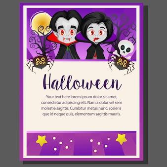 Purpurowy szczęśliwy halloween tematu plakata dracula