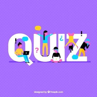 Purpurowy tło z quiz słowem i kolorowymi ludźmi