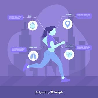 Purpurowy zdrowie infographic płaski projekt