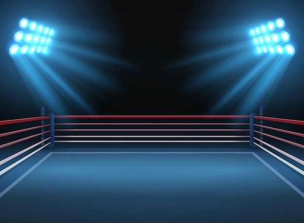 Pusta arena sportowa zapaśnicza. bokserski pierścień tło wektor sportowe dramatyczne. sportowa obrączka do ilustracji wrestlingu i boksu
