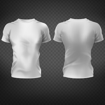 Pusta biała koszulka z muskularną sylwetką męskiej tułowia z przodu, widok z tyłu