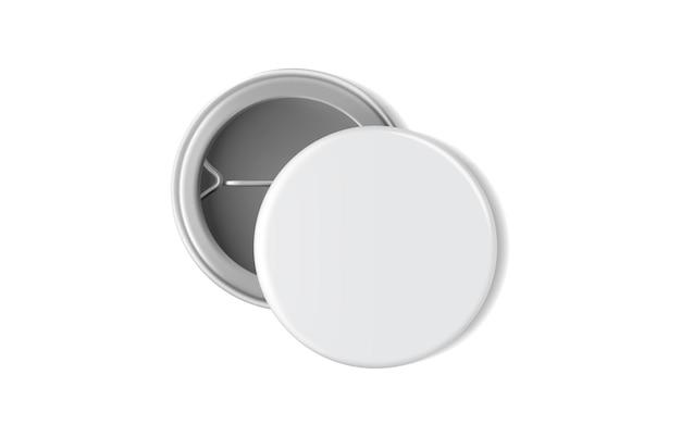Pusta biała odznaka na białym tle makiety wektora