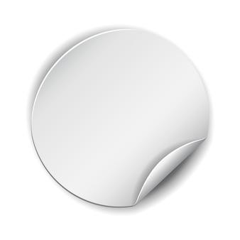 Pusta, biała okrągła naklejka promocyjna