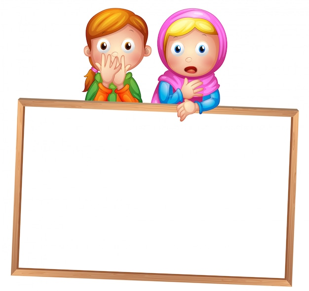 Pusta biała ramka z dwoma dziewczynami