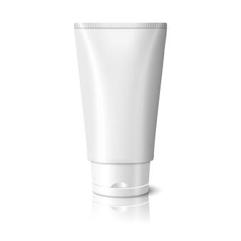 Pusta biała realistyczna tubka na kosmetyki, krem, maść, pastę do zębów, balsam, krem medyczny itp. na białym tle