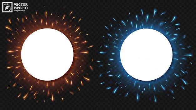 Pusta biała runda z latającymi iskrami ognia
