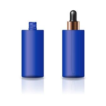 Pusta butelka kosmetyczna niebieski cylinder z pokrywką zakraplacz.