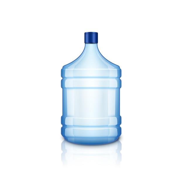 Pusta butelka wody wektor. duża plastikowa duża niebieska przezroczysta butelka na czystą wodę, na białym tle.