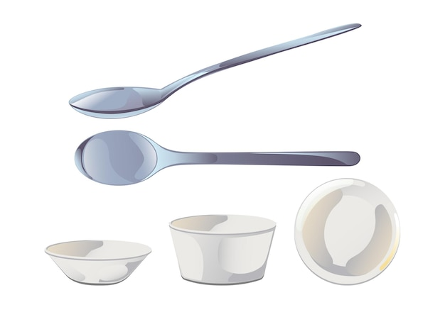 Pusta ceramiczna miska na sos i metalowa łyżka w stylu płaskiej kreskówki. ilustracja wektorowa na białym tle