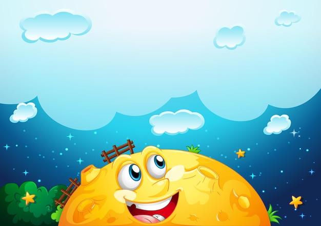 Pusta chmura z żółtym księżycem szablonem