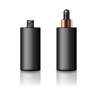 Pusta, czarna cylindryczna butelka kosmetyczna z zakraplaczem dla urody lub zdrowego produktu.