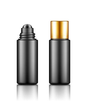 Pusta czarna plastikowa butelka do wałków kosmetycznych z makietą złotej czapki