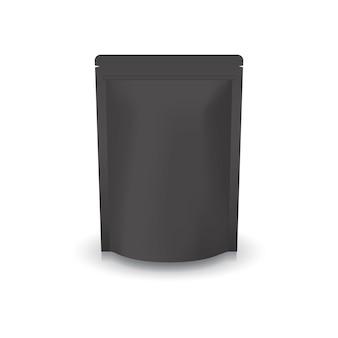 Pusta czarna stojąca torebka ziplock.