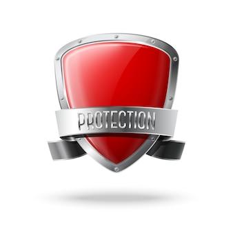Pusta czerwona realistyczna błyszcząca tarcza ochronna ze srebrną wstążką i obramowaniem