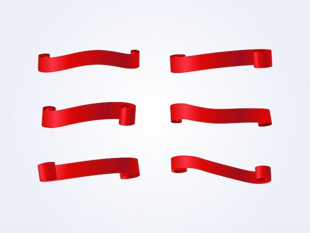 Pusta czerwona wstążka ustawiona na białym tle.