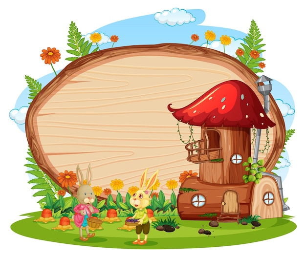 Pusta drewniana deska w ogrodzie z dwoma królikami na białym tle