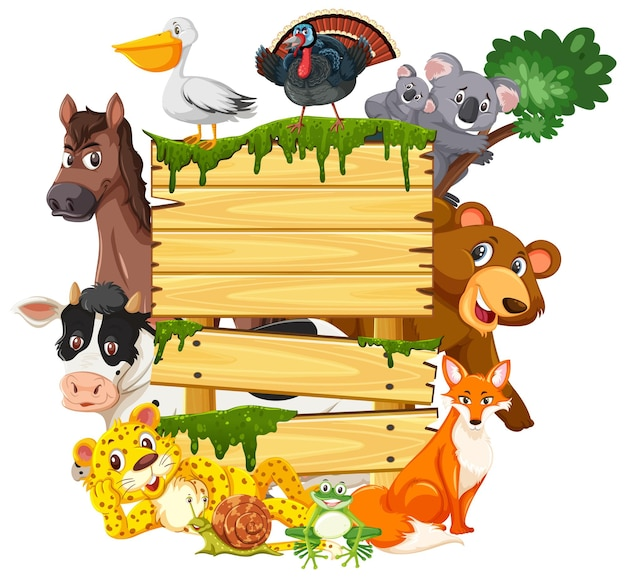 Pusta drewniana deska z różnymi dzikimi zwierzętami