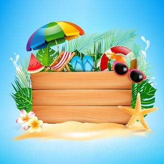 Pusta drewno deska z copyspace i lato plażą
