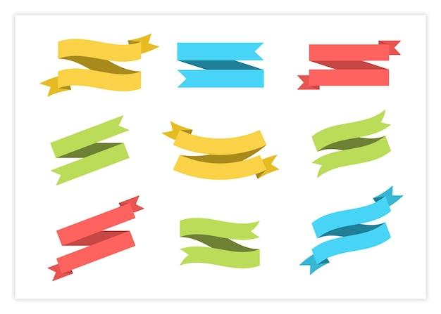 Pusta etykieta wektor wstążka zestaw ilustracji. kolorowe płaskie zakrzywione wstążki i przewijane flagi