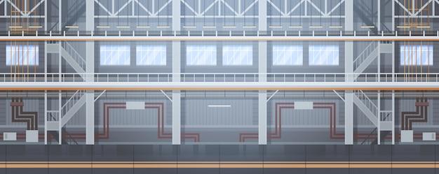 Pusta fabryka przenośników automatyczna linia montażowa koncepcja automatyzacji maszyn