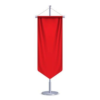 Pusta flaga 3d długi proporczyk. ilustracja