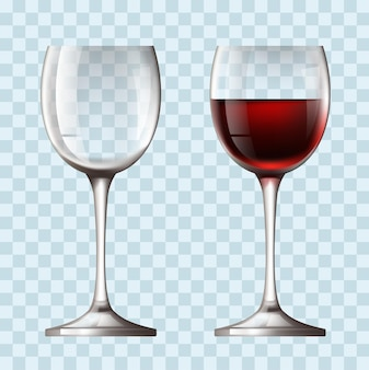 Pusta i pełna realistyczna koncepcja kieliszek do wina