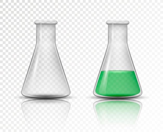 Pusta i wypełniona kolba do laboratorium chemicznego