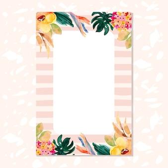 Pusta karta z tropikalnych kwiatów tle akwarela